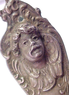 Most Fabulous Antique Victorian Cherub Angel Sterling Silver Spoon Signed