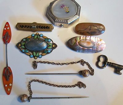Vintage Antique Brooches Hat Pins Compact