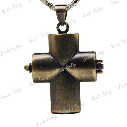 Antique Bronze Cross Religious Brass Pendants Wish Prayer Box