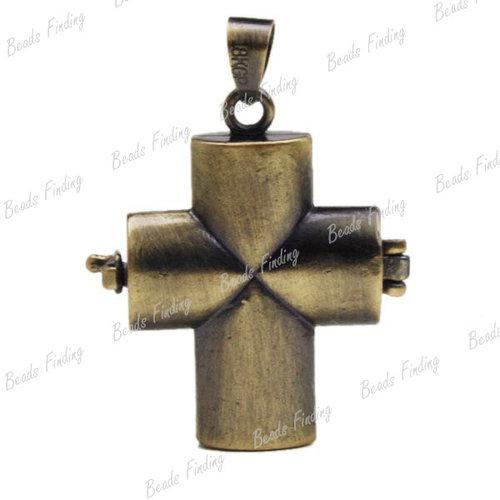 Antique Bronze Cross Religious Brass Pendants Wish Prayer Box  1