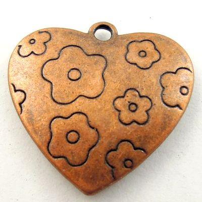 Antique Copper Color Heart Love Style Charm Pendant