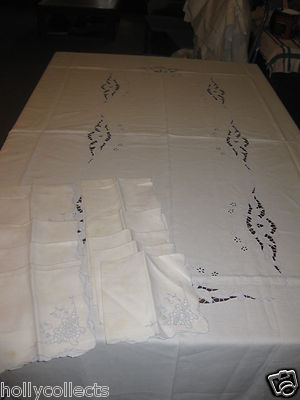 Vintage Madeira Linen Tablecloth W/12 Matching Napkins