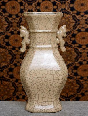 Antiques China Exquisite 18c Net Veins Gray Glaze Porcelain Vase
