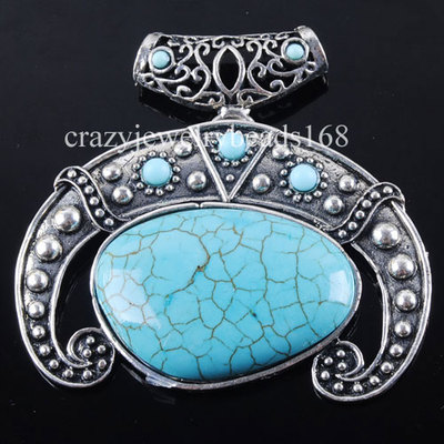 Antique Silver Ivory Turquoise Bead Pendant Necklace Jewelry Z227