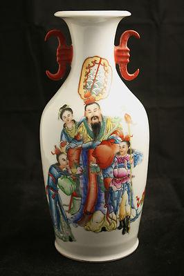 Antique Chinese Famille Rose Large Vase Signed On Base