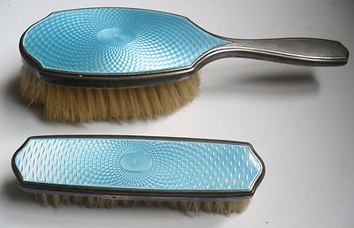 Two Antique Silver And Enamel Clothes Brushes