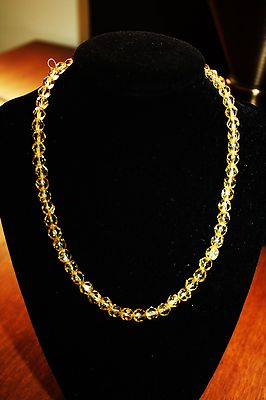 Vintage / Antique Necklace 16  Inches Nice Yellow Crystal Beads