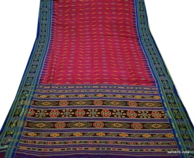 Vintage Sari Real Pure Patola Silk Saree Fabric Hand Weaving Quilt Craft Design