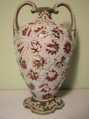 Signed Antique Unmarked Nippon Double Handle Intricate Moriage  Vase