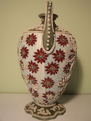 Signed Antique Unmarked Nippon Double Handle Intricate Moriage  Vase- 1