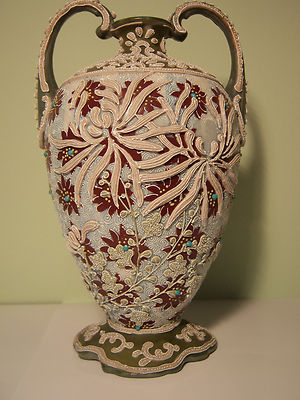Signed Antique Unmarked Nippon Double Handle Intricate Moriage  Vase- 2