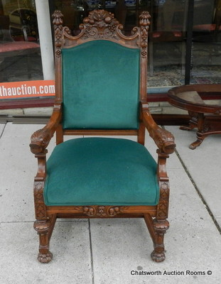 Antique 19c Carved Quartered Oak Victorian Armchair w/ Dolphin Arms