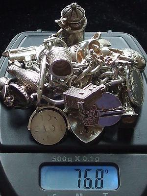 Antique Vintage Large Heavy English Sterling Silver Padlock Charm Bracelet 1