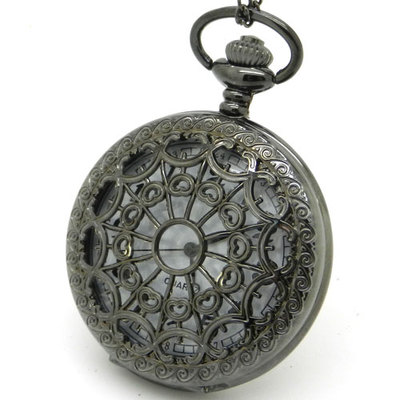 Antique Style Hollow Black Tone Mens Quartz Analog Pocket Watch Chain P01