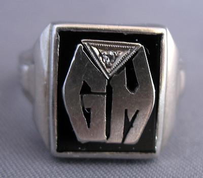 Antique Mens Art Deco 10k White Gold, Onyx &Amp; Diamond Intial Ringscrap