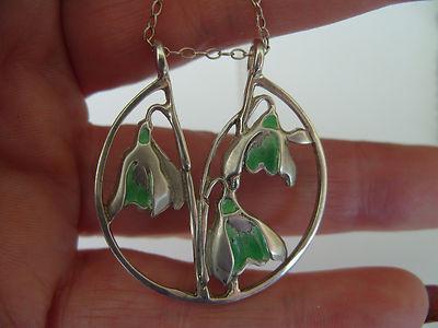 Antique Vintage Art Nouveau Hallmarked Silver & Amp; Enamel Snowdrop Flower Pendant