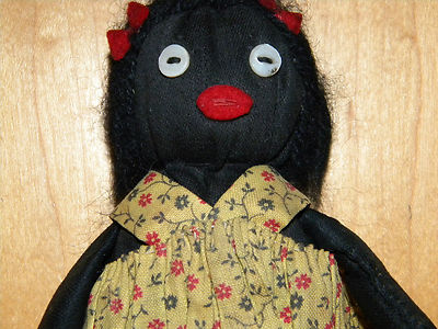 Antique Old Primitive Black Americana Folk Art Cloth-Rag Doll 1