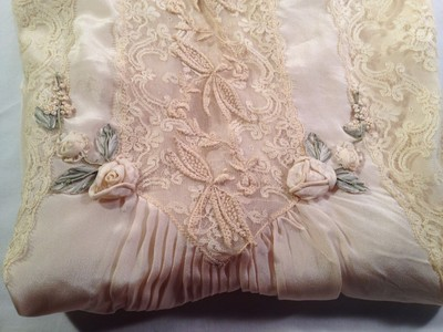 Vintage Lot Antique Silk Satin Wedding Laces Lips Night Gowns Childrens Lingerie