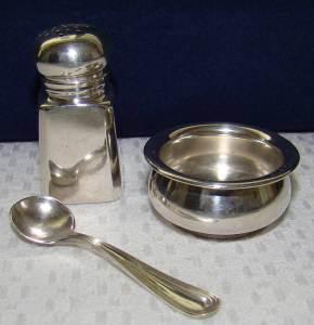 Sterling Silver Open Salt Cellar Pepperspoon Set Antique