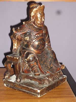 ANTIQUE MING DYNASTY CARVED WOOD & LACQUER FIGURE EMPEROR OR DIGNITARY ON THRONE