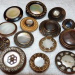 14 Antique Metal Buttons with Pearl Shell Centers  Paris Back
