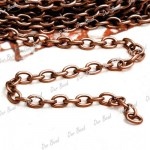 4 metres Antique Copper Cable Chain 0.9x3x5mm Unfinished