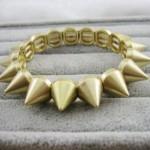 Antique Cute Gothic Punk Biker Gold Cone Studs Spike Bracelet Adjustable Free