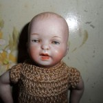 WELL PAINTED ANTIQUE GERMAN ALL BISQUE CHARACTER RELIST BABY DOLL c1915