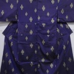 32292# Japanese KIMONO SILK / ANTIQUE MEISEN KIMONO / WOVEN KASURI PATTERN