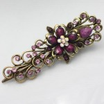 Free shipping antique bronze Dark Red rhinestone crystal Flower  Hairpin AC0168