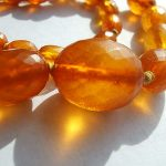 Antique faceted AMBER necklace 9k gold clasp Old beads  RARE Treasure