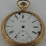 American Waltham Pocket Watch 1902 Yellow Fancy Engraved Case 15J Parts, Repair