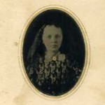 Tintype Antique Photo  Young Girl  Painted Gold Decoration at Neckline