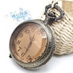 BEST SELLING  VALENTINE  ANTIQUE TEA COLOR CRYSTAL WOMAN NECKLACE WATCH #234