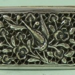 MARKED ANTIQUE CHINESE EXPORT SILVER HINGED LIDDED TRINKET BOX BIRDS FLOWERS