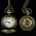 Nice Good Antique Rose Pendant Pocket Watch Necklace,KB8