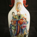 Antique Chinese Famille Rose Large Vase Signed On Base
