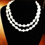 Vintage / Antique Necklace Length Inches 28 White Milk Glass Old Beads Awesome