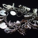 Antique Vintage Large Heavy English Sterling Silver Padlock Charm Bracelet