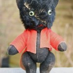 Old Vintage Antique Miniature Black Mohair &Amp; Felt Cat (Teddy Bear) Circa
