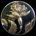 Beautiful Antique Painted Brass Flower Button