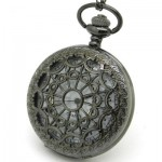 Antique Style Hollow Black Tone Mens Quartz Analog Pocket Watch Chain P01