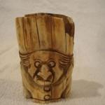 Antique Vintage Carved Ox Bone Comical Figure With Money Sacks