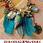Antique Style Necklaces Blue Feather Parrot Heart Pendants