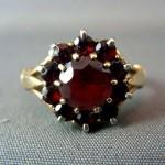 Antique 9ct Genuine Bohemian Garnet Cluster Ring