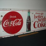 Antique Vintage Original 1964 Coca Cola Advertising Metal Soda Sign