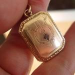 Antique 1920s Art Deco Rose Gold Amethyst 2 Photo Love Token Locket