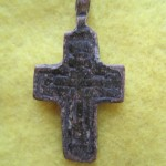 Antique Russian Orthodox Icon Brass Pedant Cross 18th.century
