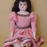 """18″ Old Antique Bisque Head Cloth German Doll """"Darling"""" With Molded Boots"""