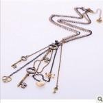 Johnson Home Fashion Antique Tassel Y-Necklace Key Charms Vintage